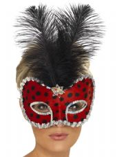 Venetian Ladybug Feather Eye Mask